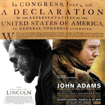 Carteles promocionales de ambas entregas y reproducción de la Declaración de Independencia escrita por Jefferson