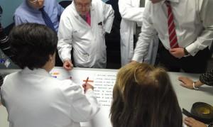 Equipo directivo de un hospital visualizando un sistema centrado en el paciente y los valores