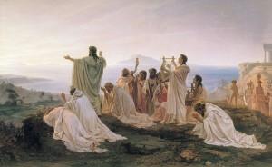 Pitágoras celebrando el amanecer con sus discípulos (Fyodor Bronnikov, 1827—1902)